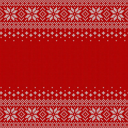 Knitted seamless background with copyspace. Red and white sweater pattern for Christmas or winter design. Traditional scandinavian ornament with place for text. Vector illustration. Vettoriali