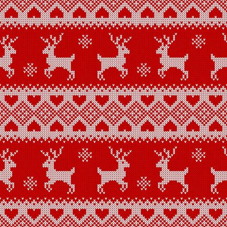deers와 니트 원활한 패턴입니다. 크리스마스 또는 겨울 디자인에 대 한 전통적인 스 칸디 나 비아 배경입니다. 빨간색과 흰색 스웨터 장식입니다. 벡터  일러스트