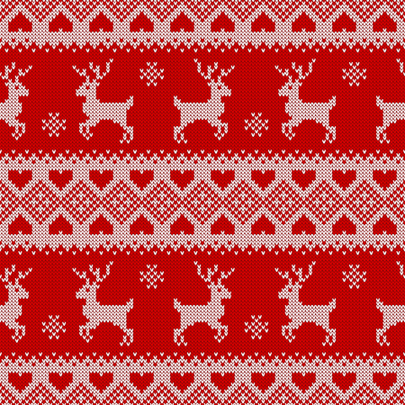 Knitted seamless pattern with deers. Traditional scandinavian background for christmas or winter design. Red and white sweater ornament. Vector illustration.