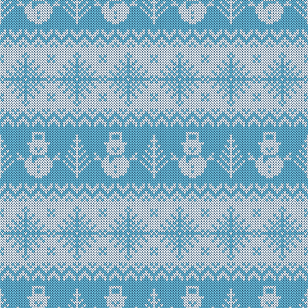 Knitted seamless pattern with snowmen and snowflakes. Pale blue and white sweater background for Christmas or winter design. Vector ornament. Illustration