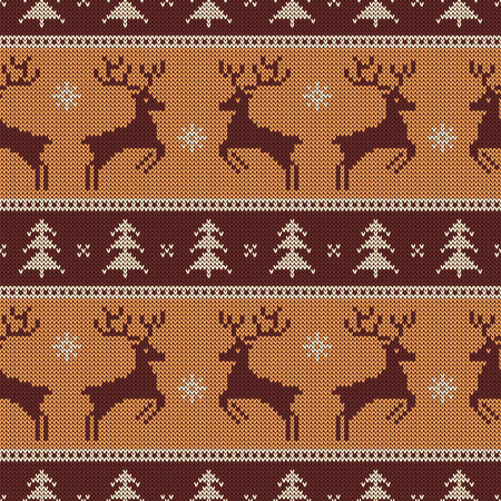 Knitted seamless pattern with deers and fir-trees. Vector background for Christmas or winter design. Brown, beige and white sweater ornament. Ilustração