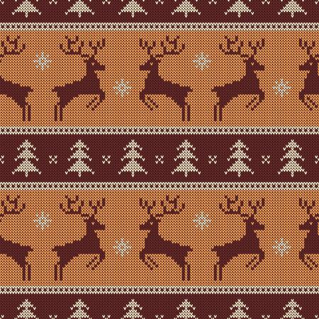 Gebreid naadloos patroon met herten en sparren. Vector achtergrond voor Kerstmis of winter ontwerp. Bruin, beige en wit sweaterornament.