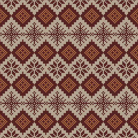 Knitted Seamless Pattern With Snowflakes And Traditional