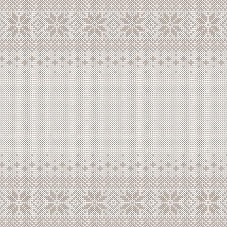 Sfondo senza soluzione di continuità a maglia con copyspace. Modello di maglione bianco e grigio per il design di Natale o inverno. ornamento scandinavo tradizionale con posto per il testo. Illustrazione vettoriale Vettoriali