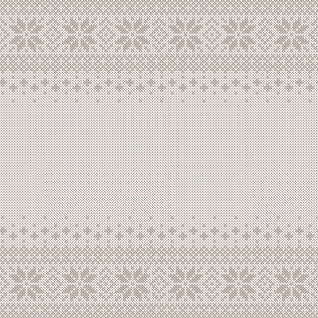 Knitted seamless background with copyspace. White and gray sweater pattern for Christmas or winter design. traditional scandinavian ornament with place for text. Vector illustration.