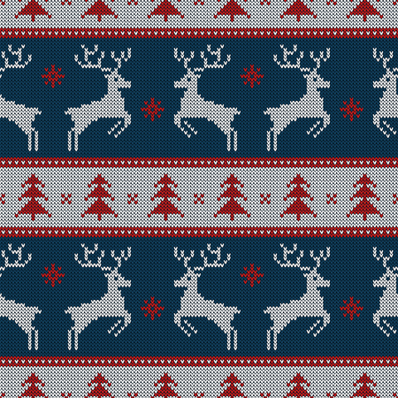 Knitted seamless pattern with deers and fir-trees. Vector background for Christmas or winter design. Blue, red and white sweater ornament. Ilustração