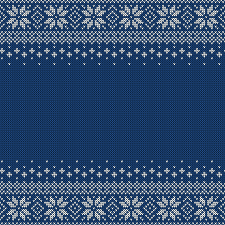 Knitted seamless background with copyspace. Blue and white sweater pattern for Christmas or winter design. Traditional scandinavian ornament with place for text. Vector illustration.