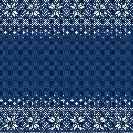 Sfondo senza soluzione di continuità a maglia con copyspace. Modello di maglione blu e bianco per il design di Natale o inverno. Ornamento scandinavo tradizionale con posto per il testo. Illustrazione vettoriale Vettoriali