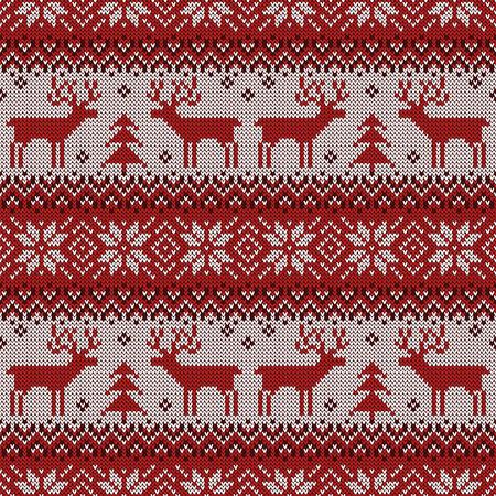 Dzianinowy wzór z jeleniami i tradycyjnym skandynawskim ornamentem.