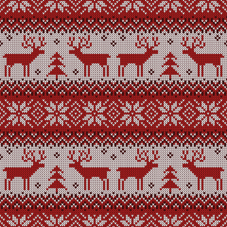 Knitted pattern with deers and traditional scandinavian ornament. Vettoriali