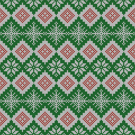 Knitted Pattern With Snowflakes And Traditional Scandinavian