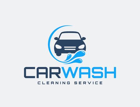 Carwash logo isolated on white background. Vector emblem for car washing services.