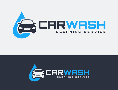 Carwash logos isolated on clean background. Vector emblems for car washing services.