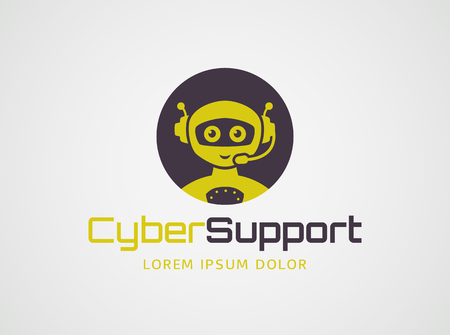 Smart robot with headset. Logo template isolated on white background. Artificial intelligence, chatbot, virtual call center, and cyber support themes. Vector concept symbol. Illustration