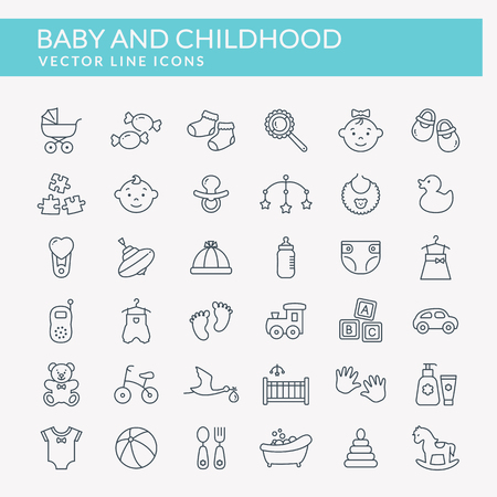 Baby web icons. Set of black outline symbols. Children's toys, food, clothes. Newborn and kids, feeding and care themes. Vector collection of line elements isolated on white background.