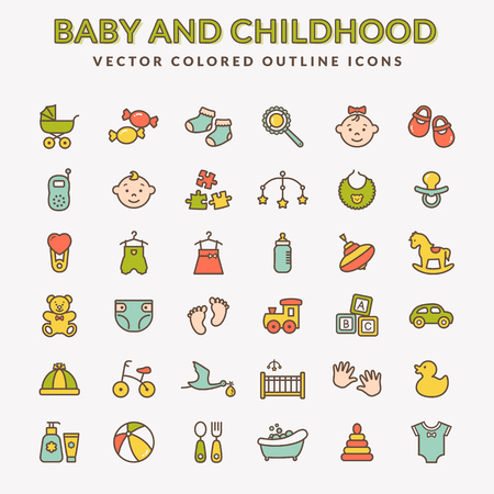 Baby web icon set. Set of colored line symbols. Childrens toys, food, clothes. Newborn and kids, feeding and care themes. Colorful elements isolated on white background. Vector collection.