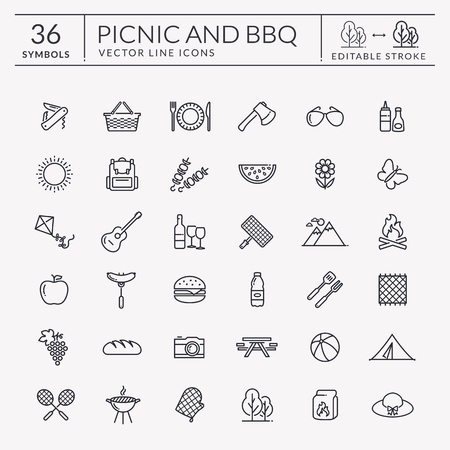 Picnic and barbecue web icon set. Black outline symbols for summer outdoor recreation theme.
