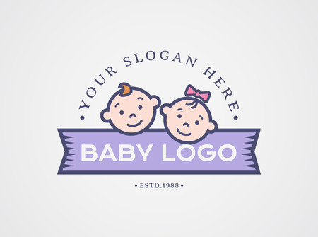 Baby logo. Vector symbol with children faces - boy and girl. Cute design isolated on white background. Illustration