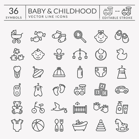 Baby icons set. Outline symbols isolated on white background. Children's toys, food, clothes. Newborn, kid, feeding and care themes. Vector collection. Editable stroke - easy to adjust lines weight. Иллюстрация
