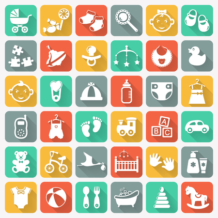Baby modern icon set. White symbols on colored square buttons. Children's toys, food, clothes. Newborn, kids, feeding and care themes. Vector flat collection with long shadows on colorful background.