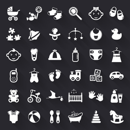 Baby and childhood web icons. Set of white flat symbols with long shadows isolated on black background. Children's toys, food, clothes. Newborn and kids, feeding and care themes. Vector collection.