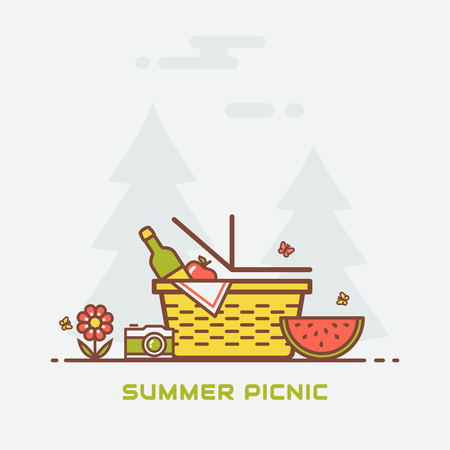 Summer picnic in nature. Vector banner with basket, wine, apple, watermelon, butterflies, camera and with trees on background. Colorful modern line illustration. Illustration