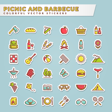 Picnic and barbecue web icons. Set of colorful stickers for summer outdoor recreation theme. Collection of colored outline symbols isolated on blue background. Vector illustration. Illustration