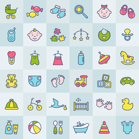 Baby modern web icon set. Colorful symbols on square buttons. Children's toys, food, clothes. Newborn and kids, feeding and care themes. Colored line elements over tile background. Vector collection. Stock Illustratie