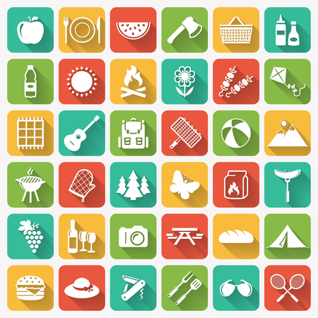 Picnic and barbecue modern web icons. Set of white symbols on multicolored square buttons for outdoor recreation theme. Flat elements with long shadows on colorful tile background. Vector collection.