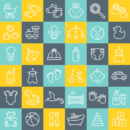 Baby modern flat web icons set. White outline symbols. Children's toys, food, clothes. Newborn and kids, feeding and care themes. Line elements over colorful square tile background. Vector collection.