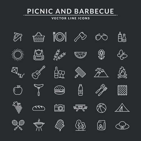 Picnic and barbecue web icons. Set of white outline symbols for a summer outdoor recreation theme. Vector collection of line elements isolated on black background.