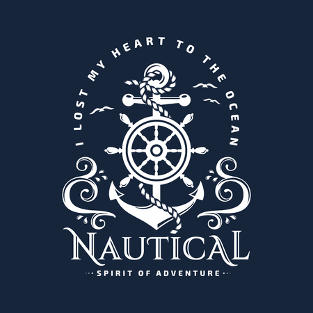 Nautical typography emblem with anchor, steering wheel, sea waves and inspirational quote I lost my heart to the ocean. Elegant t-shirt design, marine label or poster illustration. Vector template. Çizim