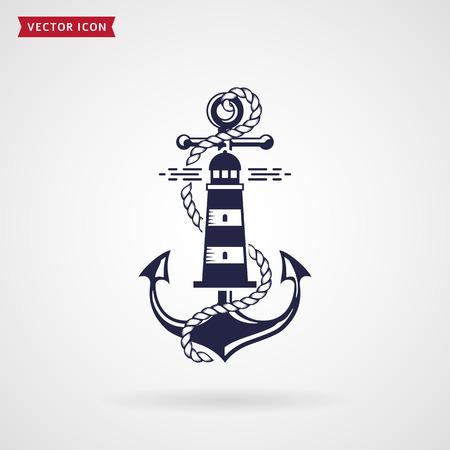 Emblema nautico con ancora, faro e corda. Design elegante per t-shirt, etichetta mare o poster. Elemento blu navy isolato su priorità bassa bianca. Illustrazione vettoriale.