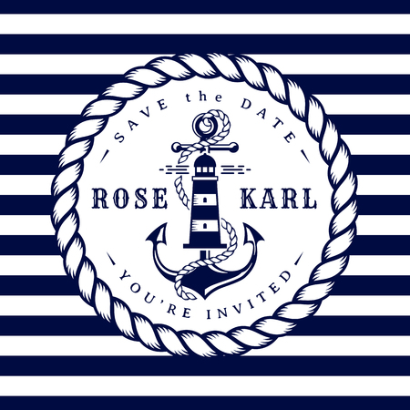 Carta di invito matrimonio nautico. Modello elegante con ancora, faro, corda e strisce per la festa di matrimonio a tema mare. Illustrazione vettoriale nei colori bianco e blu scuro.