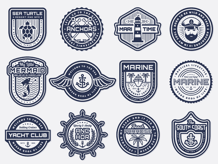 Retro nautical emblem set with anchors, steering wheel, lighthouse. Sea cruise, yachting, travel, beach resort themes. Vintage  badges for patches, company emblems, labels or posters design.