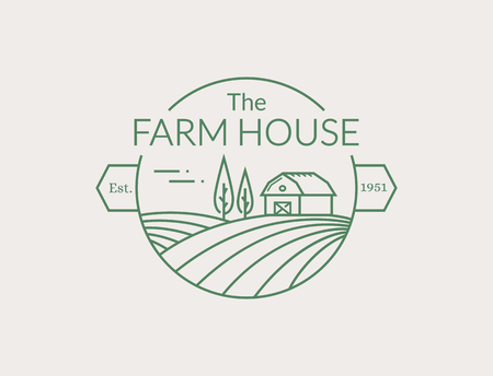 Farm House outline emblem isolated on white background.line emblem with farmhouse and fields for natural farm products.