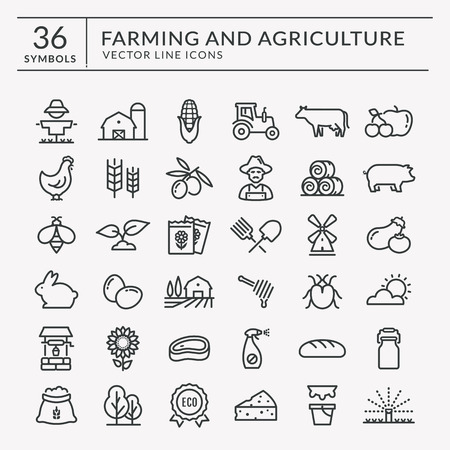 Farming and agriculture web line icon set. farm and countryside outline symbols: cereal crop, fruits, vegetables, natural dairy products, fresh meal, animals, plants, tools, equipment.