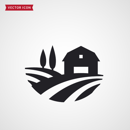 Farm symbol with barn, trees and fields. Farmhouse icon. Rural landscape. Illustration