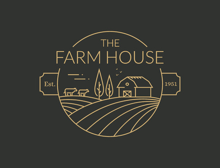 Farm House outline icon isolated on black background. Vector line emblem with farmhouse, cows and fields for natural farm products. Çizim