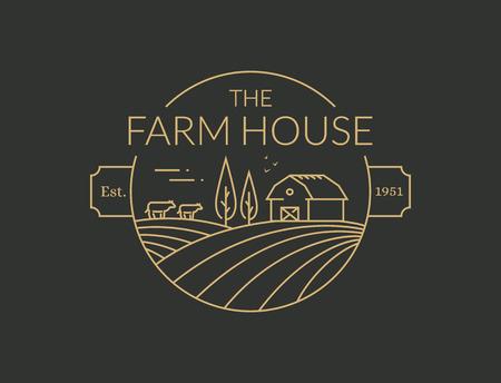 Icona di contorno di Agriturismo isolato su priorità bassa nera. Emblema della linea vettoriale con fattoria, mucche e campi per prodotti agricoli naturali. Vettoriali
