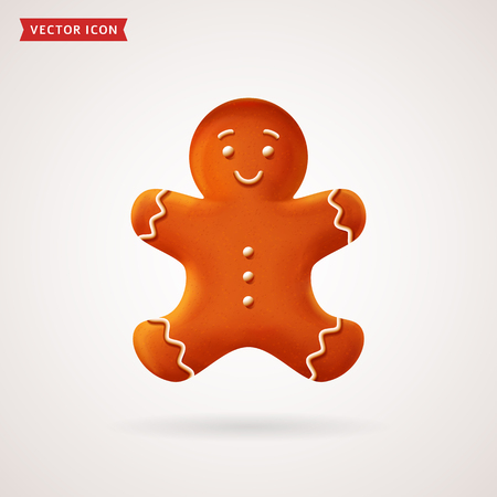 Gingerbread man. Christmas cookie. Vector colored realistic icon.