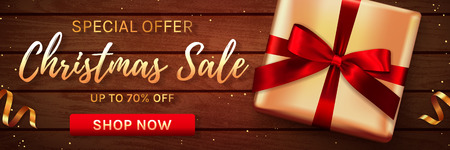 Christmas sale web banner. Wooden background. Template for holiday discounts. Elegant design with gift box and gold confetti. Vector illustration.