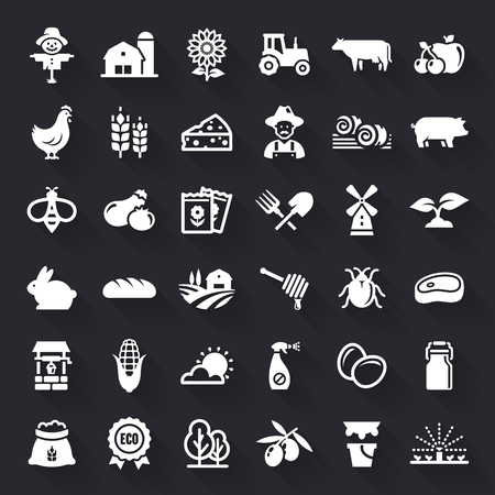 Farming and agriculture white flat icons with shadow. Farm and countryside set: fruit, vegetables, natural products, fresh meal, animals, plants, equipment. Vector symbols isolated on black background 向量圖像