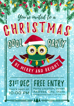 Christmas party invitation with cute owl in Santa hat. Vector template.