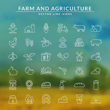 Farming and agriculture web line icon set. Vector farm and countryside outline symbols: cereal crop, fruits, vegetables, natural dairy products, fresh meal, animals, plants, tools, equipment, building