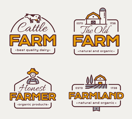 Farm logos set for dairy products, natural and organic food, agricultural produce. Vector labels with cow, farmer and farmhouse.
