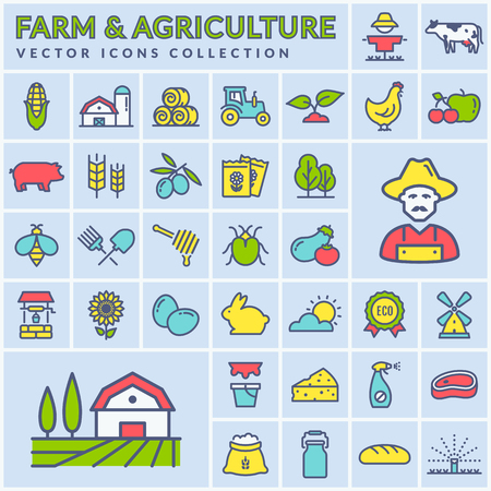 Farm, agriculture and countryside line icon set. Colored outline symbols on square buttons: cereal crop, fruits, vegetables, natural dairy products, meal, animals, plants, tools, equipment. Vector.