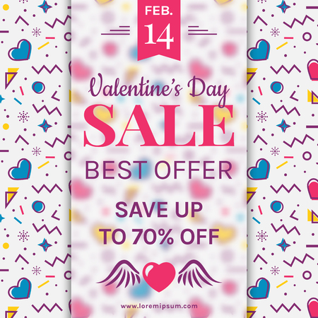 Valentine's Day sale banner with hearts and abstract geometric background in Memphis style. Modern vector template to advertising a discount.
