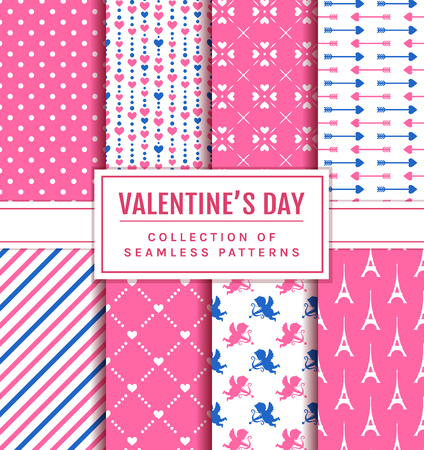 Valentine's Day seamless patterns. Set of love and romantic backgrounds in pink, blue and white colors. Vector collection.