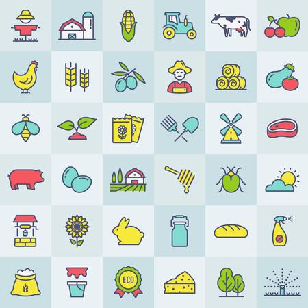 Conjunto de iconos de línea de granja, agricultura y campo. Símbolos de contorno de colores en botones cuadrados: cultivo de cereales, frutas, verduras, productos lácteos naturales, comida, animales, plantas, herramientas, equipos. Vector.